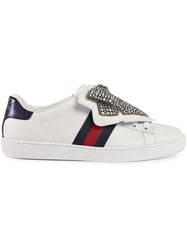 Gucci Ace Sneaker With Removable Embroideries Women Leather Crystal Rubber 38.5 White