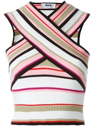 Msgm Cross Over Ribbed Top Multicolour