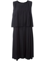 Comme Des Garcons Layered Pleated Dress Blue