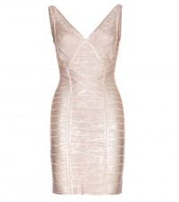 Herve Leger Briar Metallic Bandage Dress Pink