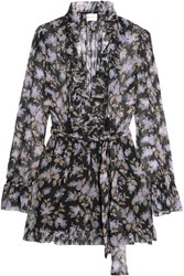 Zimmermann Ruffled Floral Print Silk Georgette Playsuit Black