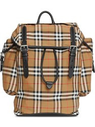 Burberry Vintage Check And Leather Backpack Brown