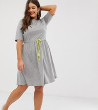 Junarose T Shirt Dress With Contrast Waist Tie Grey