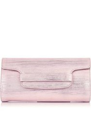 Lk Bennett L.K. Laura Striped Metallic Foldover Clutch Bag Pink