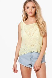 Boohoo Printed Crop Top Yellow