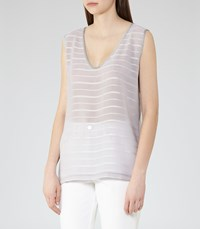Reiss Carlie Womens Texture Stripe Tank Top In Grey