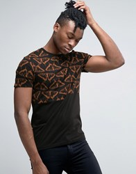 Asos Half And Half T Shirt With Butterfly Print Black