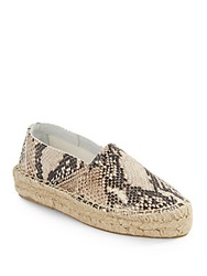Diane Von Furstenberg Tilly Embossed Leather Espadrilles Beige