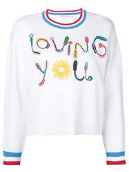 Alice Olivia Slogan Print Sweater White