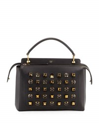 Fendi Dotcom Studded Leather Satchel Bag Black
