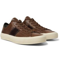 Tom Ford Cambridge Leather Sneakers Brown