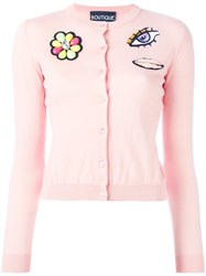 Boutique Moschino Multiple Patches Cardigan Pink Purple