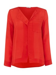 Marella Laguna Longsleeve Dropped Hem Blouse Red