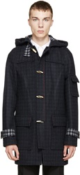 Raf Simons Navy And Grey Duffle Coat