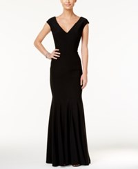 Betsy And Adam V Neck Mermaid Gown Black