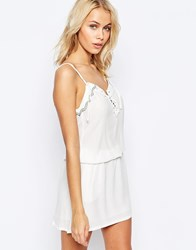 See U Soon Lace Up Dress With Embellished Trim Detail Off White