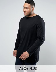 Asos Plus Super Longline Long Sleeve T Shirt With Boat Neck In Black Black