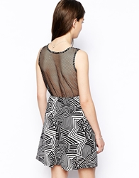 Mina Mono Print Dress With Mesh Back Black