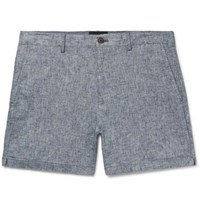 Club Monaco Jax Slim Fit Stretch Linen And Cotton Blend Chambray Shorts Light Blue