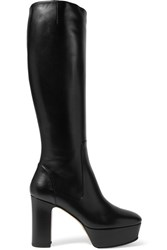 Gucci Leather Platform Knee Boots Black