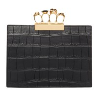 Alexander Mcqueen Black Croc Small Four Ring Clutch
