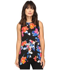 Vince Camuto Sleeveless Floral Rendezvous Ruffle Front Blouse Rich Black Women's Blouse