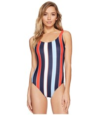 Tommy Hilfiger Speedy Stripe Deep Scoop Neck One Piece Core Navy Women's Swimsuits One Piece
