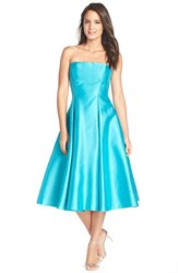 Women's Adrianna Papell Strapless Mikado Fit And Flare Midi Dress Turquoise
