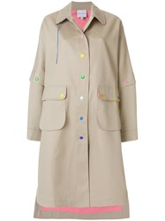 Mira Mikati California Dreamin Embroidered Back Trench Coat Nude And Neutrals