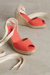 Anthropologie Pinaz Ankle Tie Espadrilles Red