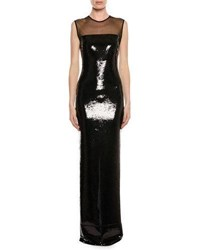 Tom Ford Sleeveless Liquid Sequin Evening Gown With Illusion Black