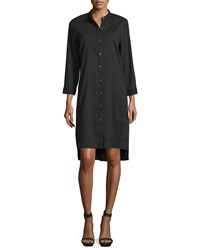 Eileen Fisher 3 4 Sleeve Linen Blend High Low Dress Women's Black