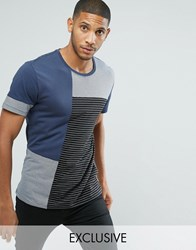 Only And Sons Patchwork T Shirt Blue