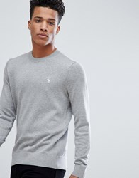 Abercrombie And Fitch Core Icon Moose Logo Crewneck Sweatshirt In Light Grey Marl Light Grey Marl