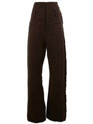Uma Wang High Rise Frayed Detailing Trousers Brown
