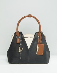 Dune Tote Bag With Contrast Handle Black