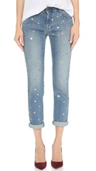 Stella Mccartney Metallic Polka Dot Tomboy Jeans Antique Gold