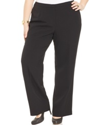 Kasper Plus Size Straight Leg Crepe Pants Black