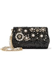 Dolce And Gabbana Embellished Sequined Leather Shoulder Bag Black