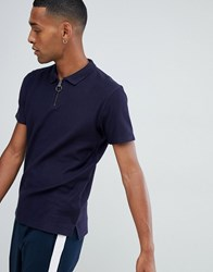 Selected Homme 1 4 Zip Polo Shirt Night Sky Navy