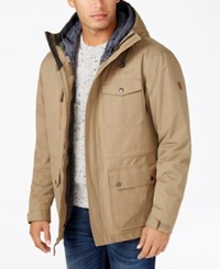 Free Country Men's Oxford Blend 3 In 1 Down Jacket Beige Tan