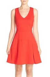 Adelyn Rae Cotton Blend Fit And Flare Dress Red