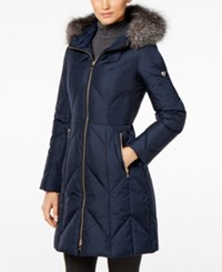 1 Madison Expedition Fox Fur Trim Chevron Hooded Down Puffer Coat Navy