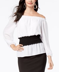 Thalia Sodi Smock Waist Colorblocked Top Created For Macy's Bright White