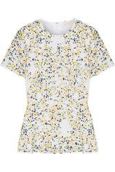 Michael Michael Kors Hayden Printed Broderie Anglaise Cotton Peplum Blouse White