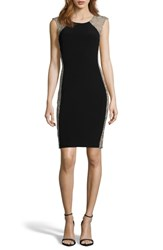 Xscape Evenings Beaded Cocktail Dress Black Nude Silver