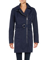 Vince Camuto Removable Hood Zip Up Trench Coat Navy