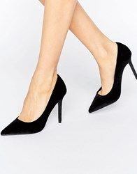 Warehouse Point Velvet Court Shoes Black Velvet
