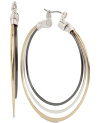 Robert Lee Morris Soho Tri Tone Triple Hoop Earrings Tri Tone