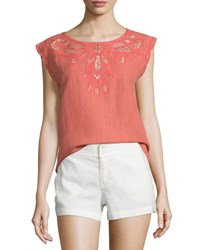 Joie Kinski Embroidered Eyelet Short Sleeve Top Coral Rose